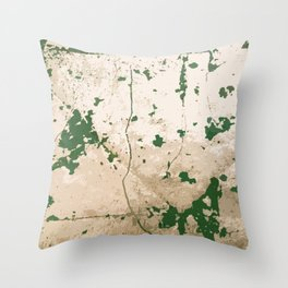 Silver Leaf Green Paint Throw Pillow