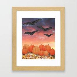sunset pumpkins & bats Framed Art Print