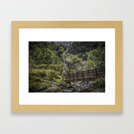 Path to Aber falls wales uk Framed Art Print