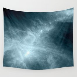 Steel Stone Teal Blue Nebula Galaxy Wall Tapestry