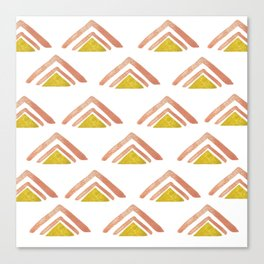 Pink and Yellow Boho Triangles Canvas Print