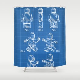 Legos Patent - Block Man Art - Blueprint Shower Curtain