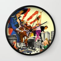 dick Wall Clocks featuring private dick by TRASH RIOT