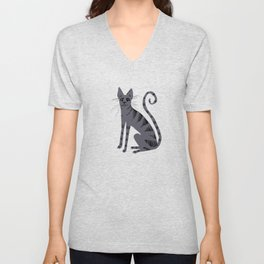 Grey Tabby Cat Unisex V-Neck