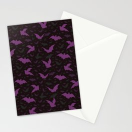 Flying Purple Halloween Bats Vector Pattern Stationery Cards