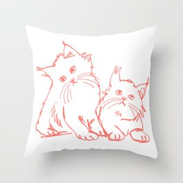 Katzen 001 / Minimal Line Drawing Of Two Cats Throw Pillow
