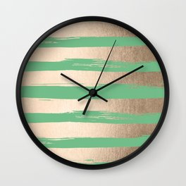 Painted Stripes Gold Tropical Green Wall Clock