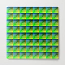 Lime And Blue Geometric Pixel Art Repeat Pattern Metal Print
