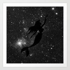The Little Mermaid Black and White Space Art Print