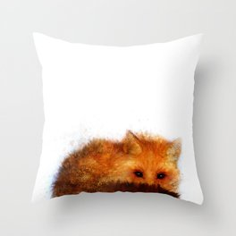 Shy Red Fox Throw Pillow