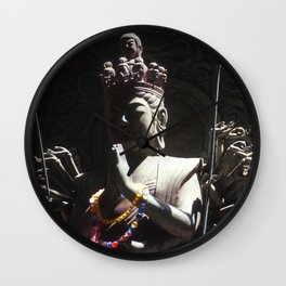 Buddhist Statue in Shadow Wall Clock