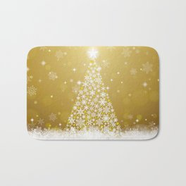 Gold Snowflakes Sparkling Christmas Tree Bath Mat
