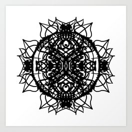 Black Aztec Floral Mandala Art Print