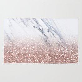 Rose Gold Glitter Marble Rug