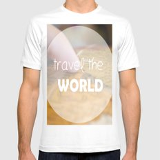 Travel the world Mens Fitted Tee White MEDIUM