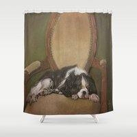 downton abbey Shower Curtains featuring Abbey by Ambre Wallitsch
