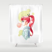 bubblegum Shower Curtains featuring Bubblegum by Freeminds