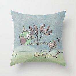 Green Shrieky Throw Pillow