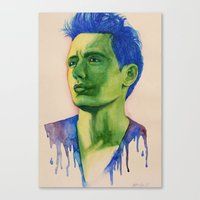 james franco Canvas Prints featuring James Franco by Arch & Aya