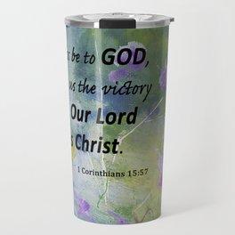 Floral With Scripture 1 Corinthians 15:57 Travel Mug