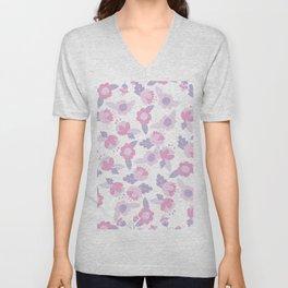 Hand painted pastel pink lavender modern floral Unisex V-Neck