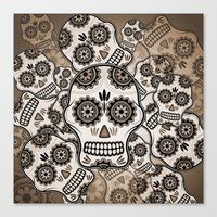 sugar skulls Canvas Prints featuring Sugar skulls by nicky2342
