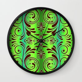 scroll ombre stripe tropical colors Wall Clock