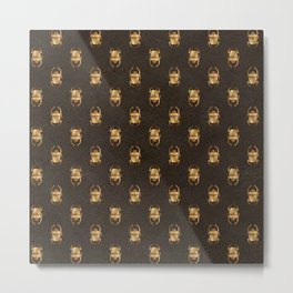 Brown & Gold Scarab Pattern Metal Print