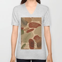 Abstract shapes and leaves modern pattern Unisex V-Neck