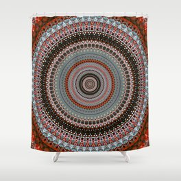 Orange Red Grey Boho Mandala Shower Curtain