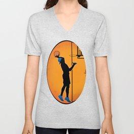 Basketball Player Silhouette Unisex V-Neck
