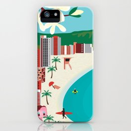 Oahu, Hawaii - Skyline Illustration by Loose Petals iPhone Case