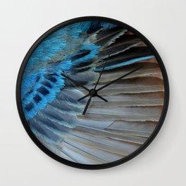 Indigo Bunting Feather Wall Clock