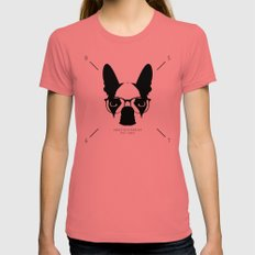 Hipster Boston Terrier Womens Fitted Tee Pomegranate LARGE