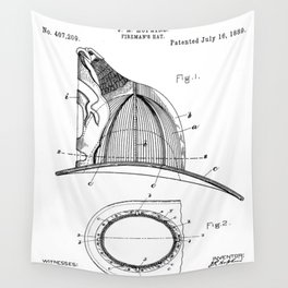 Firemans Helmet Patent - Fireman Art - Black And White Wall Tapestry