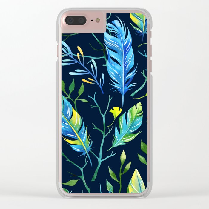 Feathers Pattern 06 Clear iPhone Case