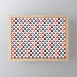 Retro Lips Pattern Framed Mini Art Print