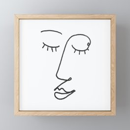 Abstract Black and White Line Drawing Woman's Face Sleeping Framed Mini Art Print