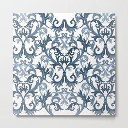 Damask Vintage Pattern Navy Blue White Metal Print