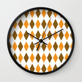 Diamond orange brown pattern Wall Clock