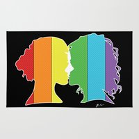 lesbian Area & Throw Rugs featuring Lesbian Love  by Winter Graphics
