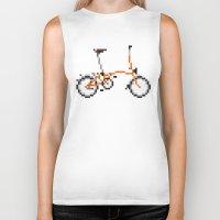 brompton Biker Tanks featuring Pixel Art Brompton bicycle - Orange by PixelArtM
