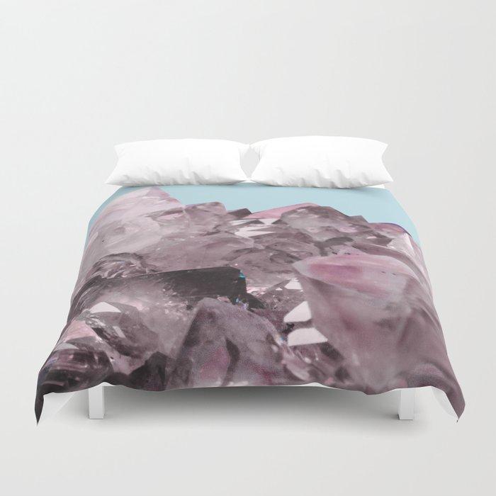 Pink Crystals on Light Blue Duvet Cover