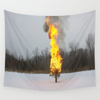 return Wall Tapestries featuring Point Of No Return  by Julia Aviles