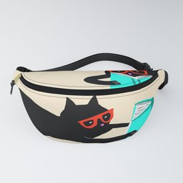 Book bag black cat reads stories Fanny Pack