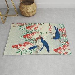 Ohara Koson Birds In Snow Japanese Woodblock Print Vintage Historical Japanese Art Rug