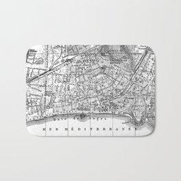 Vintage Map of Nice France (1914) BW Bath Mat