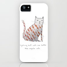 lightning bolt cats are better iPhone (5, 5s) Slim Case