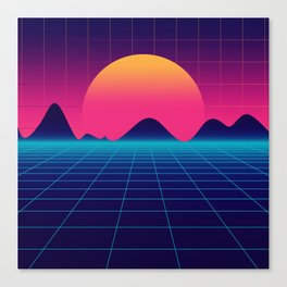 Throwback Sunset Synthwave Canvas Print