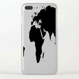 World Map in Black Clear iPhone Case